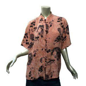 90s Tienda Ho Asian Blouse Rayon Pink Black